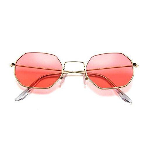Z&YQ Sonnenbrille Kleine Quadratische Retro Sechskant-Metall-Sonnenbrille Transparente Ozean-Sonnenbrille , Gold Framed Red Slices