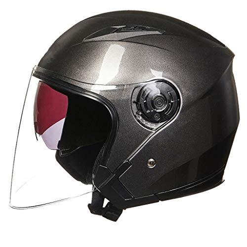 JFya Lokomotivhelm, EPS-Pufferschicht Halber Helm Sonnencreme Doppellinse 4-Jahreszeiten-Kappe Grau (L, XL) (Size : XL)