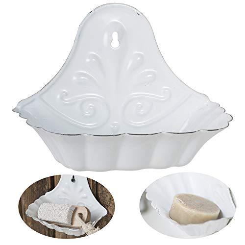 LS-LebenStil Emaille Seifenschale Weiß 16cm Altum Seifenhalter Seifenablage -