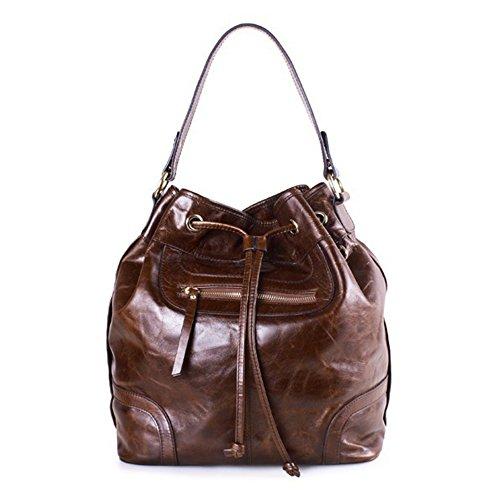 Retro del cuoio genuino delle donne Myleas coulisse benna Tote Bag per le donne con tracolla Caffè