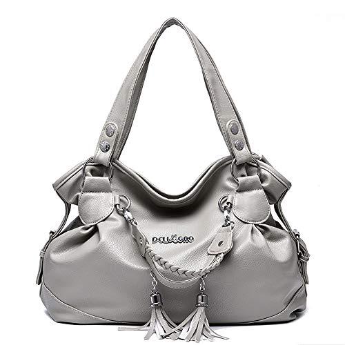 AlwaySky Damen Top-Griff Handtaschen, Super Soft Leder Schultertasche mit Quaste Klassische Freizeit Tote für Damen Damen Grau -