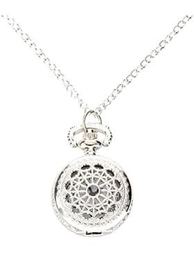 Taschenuhr - SODIAL(R) Mann Frauen Taschenuhr Quarz Silber Legierung haengende Halsketten Taschen-Dekor