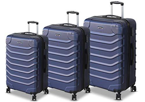 ORMI Set 3 Trolley Con 8 RUOTE Autonome in ABS Rigido Con Bagaglio a Mano Mod.: 2026 (Blu)