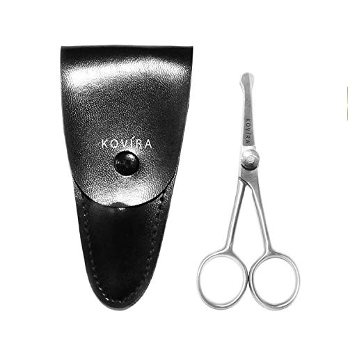 Nasenhaarschere (10 cm) - Edelstahl Abgerundeter Spitze SCHERE für Männer, Frauen - Bartschere Haarschneideschere mit Lederetui - Schere für Nase, Ohren, Augenbraue, Tierpflege, Hunde, Katzen