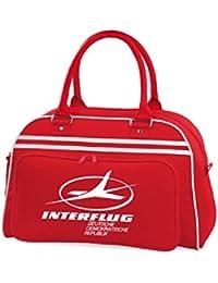 Interflug Retro bolso de mano, de cuerdas para el gimnasio, bolsa de deporte, azul y rojo Am, bolsa de bolos, con la bandera de Alemania East