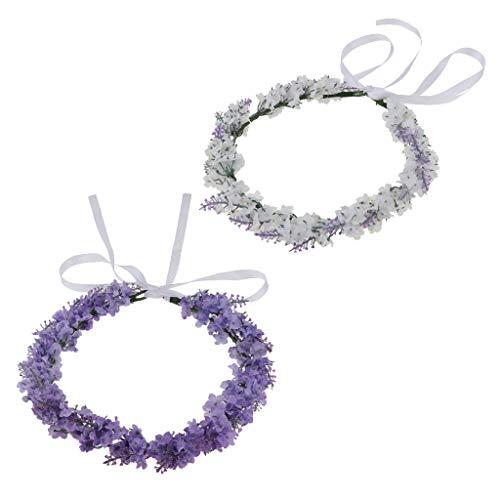 F Fityle 2 Pack Einstellbare Lavendel Haarkranz Haarreif Haarschmuck für Party Kostüm Zubehör, aus Stoff -