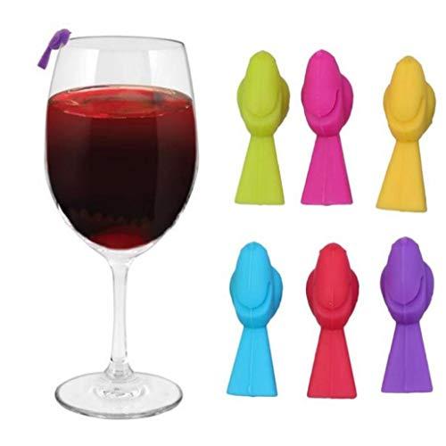 Aisoway 6pcs Wein-Glas-Charme Bulk Silikon Vogel Geformte Partei Cup Recognizer Identifiers (mischfarbe)