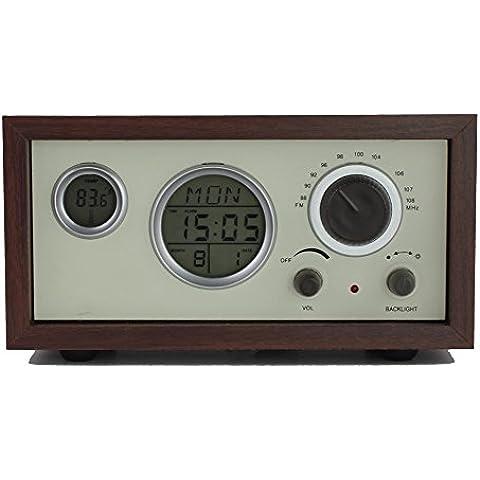 XIAOKOA Madera FM De Mesa Radio Con Reloj Despertador Y Termómetro(N-601)