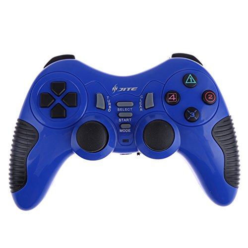 Demiawaking Drahtlose Game Spielkonsole Fernbedienung Gamepad für PS1 PS2 PS3 PC (Blau)
