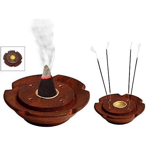 Madera incence incence quemador Holder 3inc placa redonda, caja de quemador de incienso de madera, Soporte incienso, Acción de Gracias y de la Navidad