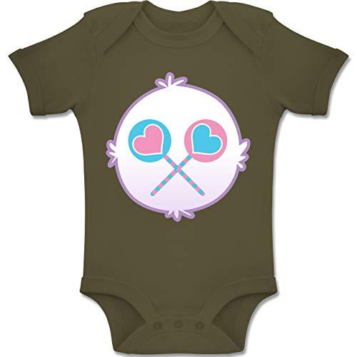 Karneval und Fasching Baby - Cartoon-Bärchis Lolli - 6-12 Monate - Olivgrün - BZ10 - Baby Body Kurzarm Jungen ()