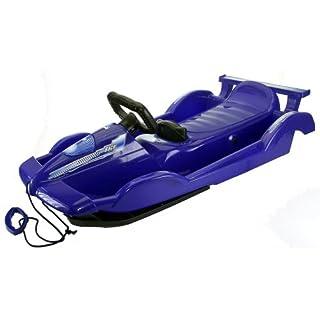 AlpenGaudi Race - Lenkbob Schlitten für Kinder mit Zugseil, Sportlenkrad und Handbremse, blau, 100cm
