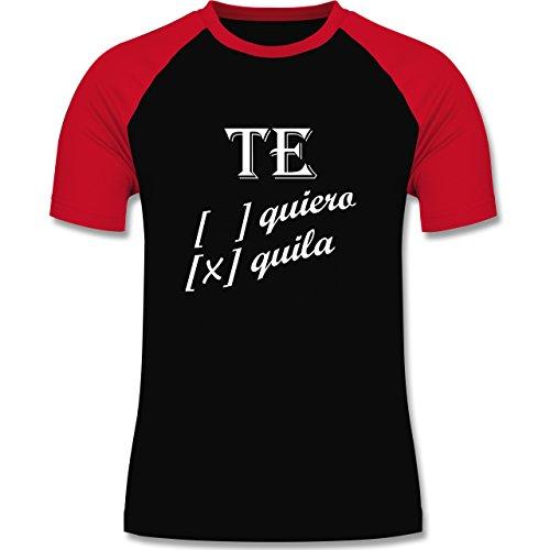 Statement Shirts - Te quiero, Tequila - zweifarbiges Baseballshirt für Männer Schwarz/Rot