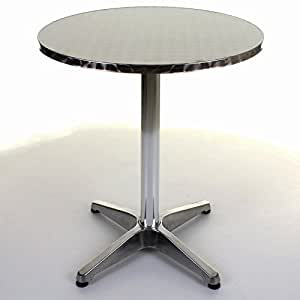 4x ultra léger en aluminium chromé Bistro Table Patio Jardin Extérieur Argent