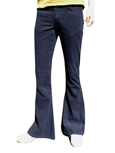 Fuzzdandy Herren Glocken Unterseite ausgestellt Hose Marineblau Cord Kordhosen Indie Hippie - Marineblau, W32 x L32 Cord-flare Jeans