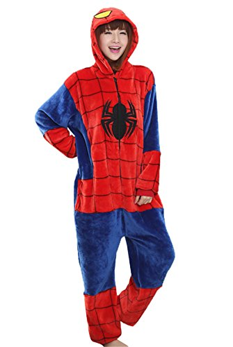 Haroty-Unisex-Adulto-Spider-Man-Camicie-da-Notte-Pigiama-da-flanella-Cosplay-Halloween-Costume-Animale-Pajamas-Tuta