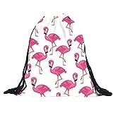 Rucksäcke FORH Mode Unisex Rucksäcke 3D Drucken Flamingo Muster Taschen Kordelzug Rucksack Drawstring Doppel Schultertaschen Shopping Bag Outdoor Travel Sporttasche (Weiß)