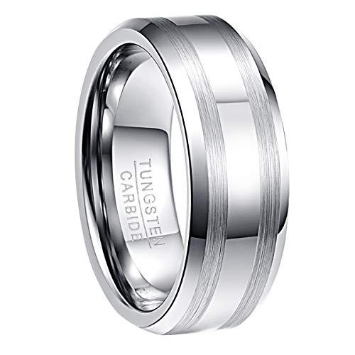 Nuncad Herren Damen Partner Ring aus Wolfram 8mm Silber/Weißgold mit 2 Gebürsteten Streifen für Hochzeit Verlobung Geburtstag Jahrestag Lifestyle Größe 63 (23)