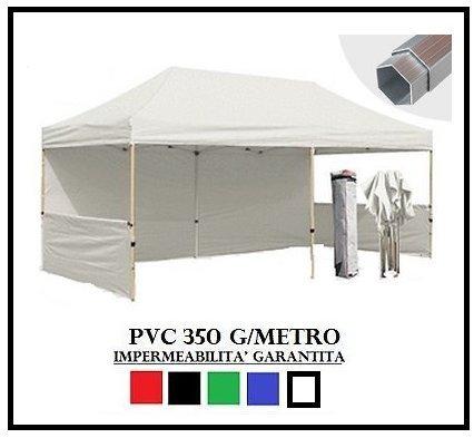 Gazebo pieghevole bianco alluminio esagonale 40mm 3x6 + 4 teli laterali pvc 350 g metro
