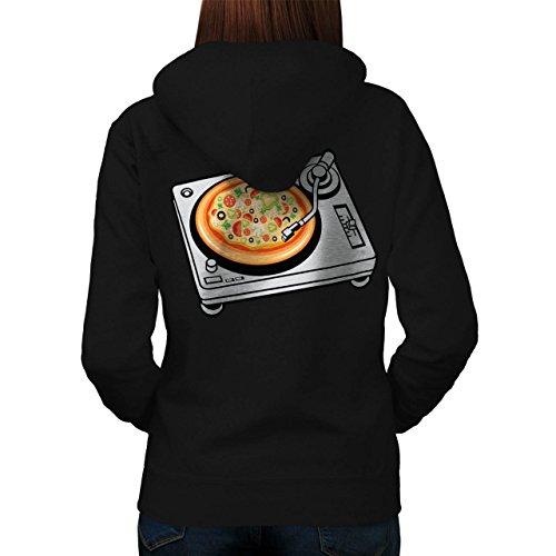 Pizza Dj Mischen Musik Essen Damen S-2XL Kapuzenpullover Zurück | Wellcoda Black