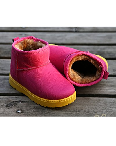 Minetom Unisex Jungen Mädchen Winter Vlies Liniert Schneestiefel Warm Rutschfest Baumwolle Stiefeletten Rot