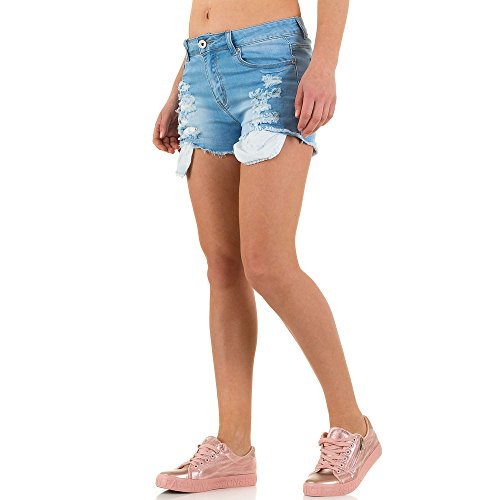 Damen Shorts Destroyed Cargo Bermuda kurze Hose Hotpants Jeans Hot Pants Blau Blau