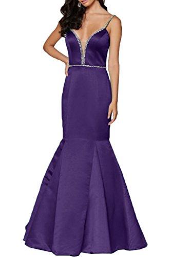 Sunvary Sexy Bodenlang V-Neck Satin Meerjungfrau Abendkleider Damen Partykleid Ballkleider Violett
