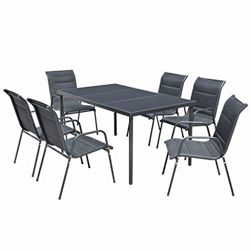 WT Trade Essgruppe Gartenmöbel Set 7 teilig | Sitzgarnitur mit 6 Stapelstühlen und Tisch | schwarz | wetterfest Drinnen & Draußen | Sitzgruppe Gartengarnitur Gartenset-Gartenmöbelset