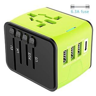 Universal Reiseadapter EXTSUD Reisestecker mit 3 USB Ports und Type C International Ladegerät Sicherheit AC Steckdose mit Ersatz Sicherung für Weltweit Reisen in US,UK,EU,AU,Asien Über 170 Ländern