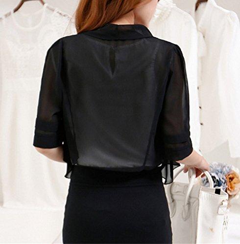 Femme boléro en mousseline 1/2 Manches transparent veste étole châle de soie Noir