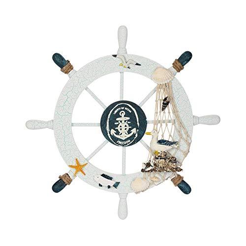 Naisicatar Beach náutico de madera de dirección de la rueda del barco de pesca con red de Shell pared del hogar Decoración (Sea Bird) Material para oficina