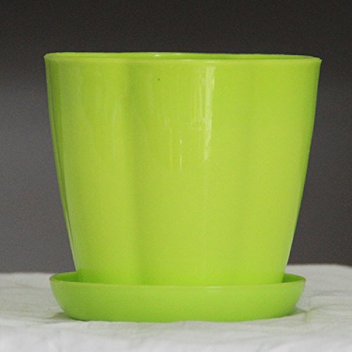 EQLEF® Thickening plastique pleine profondeur Pétale Jardin Pot Avec standard Plateau, Green Light, Medium