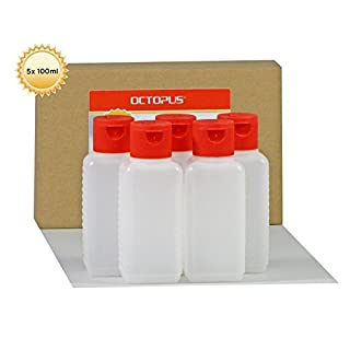 5 x 100 ml Octopus Kunststoffflaschen, HDPE Plastikflaschen mit rotem Klappverschluss, Leerflaschen mit rotem Scharnierverschluss, Vierkantflaschen inkl. Beschriftungsetiketten