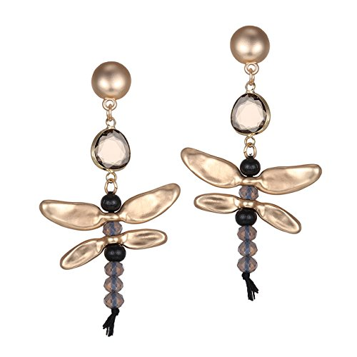 eManco Dragonfly Kristalle & Steine - Modern Halbedelsteine Multilayer Freude Ohrringe Für Damen Geschenk (Gefälschte Gold Modeschmuck)