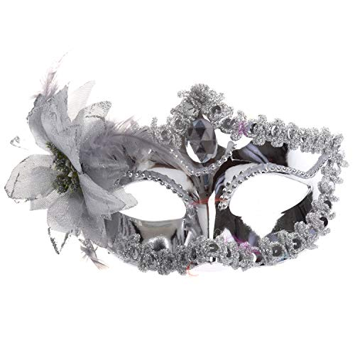 WOVELOT Silbrige Augenmaske Kostueme Maskenball Karneval Maske