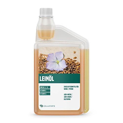 Wichtiges Antioxidans (celluforte Leinöl nativ und kaltgepresst mit Omega-3 und Omega-6, für Hunde und Pferde, BARF geeignet, 100% rein zur täglichen Ergänzung zum Futter, 1L Dosierflasche)