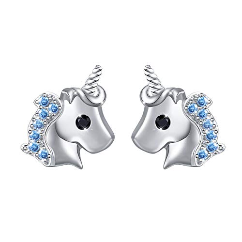 Pendientes Flyow de plata de ley 925 con diseño de unicornio azul para mujeres y niñas