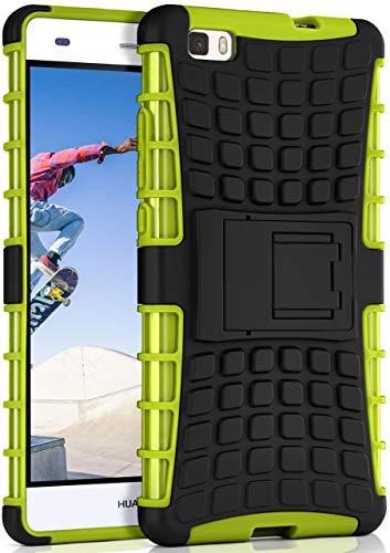 ONEFLOW® Outdoor Back-Cover aus Silikon + Kunststoff [Double-Layer] passend für Huawei P8 Lite 2015   Extrem widerstandsfähiger 360° Schutz, Grün
