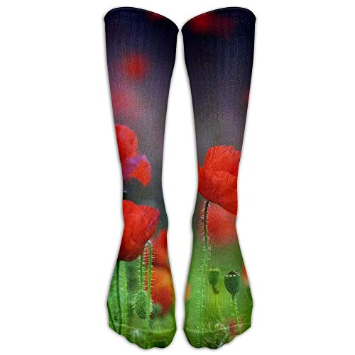 Flowers Nature Plants Red Flowers Athletic Tube Stockings Women's Men's Classics Knee High Socks Sport Long Sock One Size