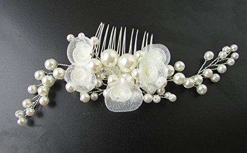 Longue Ivoire Blanc Perle Fleur Rose Vigne Peigne à cheveux de mariée Argent VTG 6 AP * * * * * * * * exclusivement vendu par – Beauté * * * * * * * *