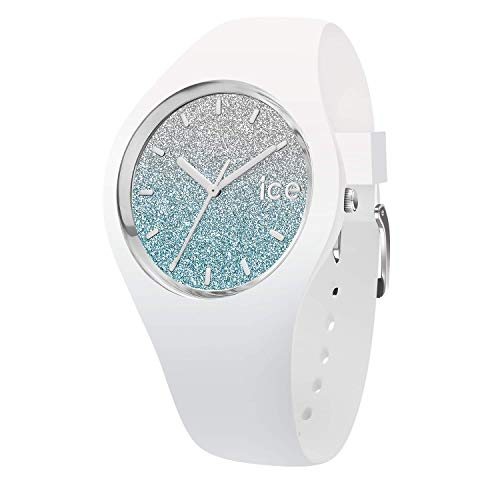 Ice-Watch - Ice lo White Blue - Weiße Damenuhr mit Silikonarmband - 013429 (Medium)