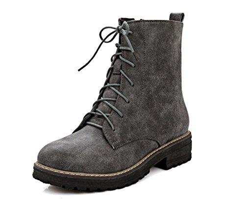 Honeystore Daman Schnürstiefeletten Damenschuhe Combat Boots Pump Schnürer Schnürsenkel Stiefeletten Grau 36CN