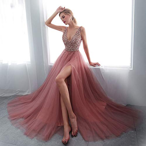 Ausschnitt Sweep (BINGQZ Damen/Elegant Kleid/Cocktailkleider Perlenstickerei Abendkleider V-Ausschnitt High Split Tüll Sweep Zug ärmelloses Abendkleid A-Linie Schnürung rückenfrei Vestido De)