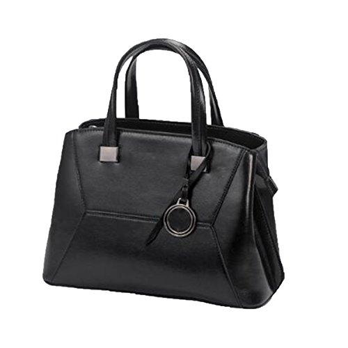 Multi-handle Satchel (ADEMI Frauen Top Handle Satchel Handtaschen Umhängetasche Tote Handtasche Multicolor,Black-M)