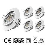 LED Einbauleuchten IP20 Ultra flach Dimmbar und Schwenkbar Farbe Weiss 5 x 5Watt 230 Volt 400lm Warmweiss LED Einbaustrahler LED Spots