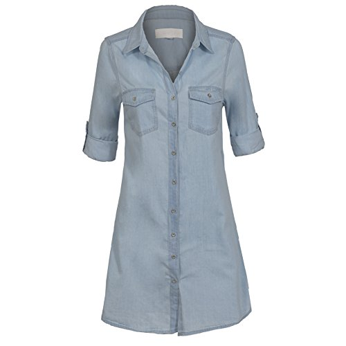 Legeres Frauen Hemdkleid mit Knopfleiste Baumwolle ausgekrämpelte Ärmel Demin Look