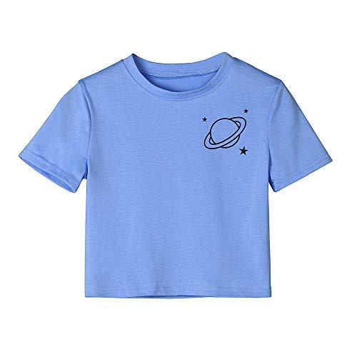 RYTEJFES T-Shirt Damen Tumblr Große Größen Kurzarm-T-Shirt mit Rundhalsausschnitt für Damen Lässige Top-Bluse Süß Gelb Baumwollshirt mit Turn-Up Ärmeln (Blue, S) (1-8 Halloween Blu-ray)