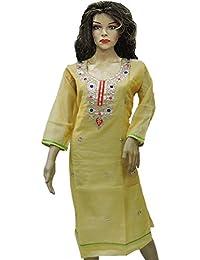 Ratnatraya Cotton Yellow Kurti For Women | Party Wear Designer Straight Kurtis For Girls And Gift