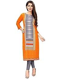 610b0882f 1 Stop Fashion Women s Orange-Colour Crepe Knee Long W Style Kurtas Kurti