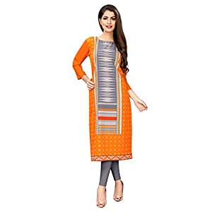 1 Stop Fashion Women's Orange Colour Crepe Digital Print Knee Long W Style Kurta/Kurti